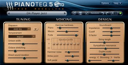 Screenshot of the Pianoteq upper panel